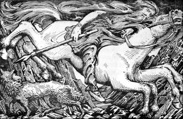 "Odino in sella al cavallo Sleipnir in ""Odin Rides to Hel"" (1908) by W. G. Collingwood."